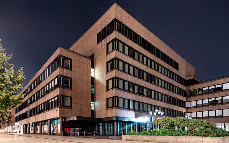 Dortmund, Kampstr. - Frontansicht eines sanierten Mehrfamilienhauses